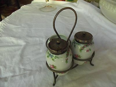 4 Piece Set, MUSTARD, PEPPER SHAKER & SALT CELLAR w/ EPNS LIDS ca. 1900 England