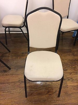 Restaurant style dining chairs- beige cushion with metal framing - 153 qty