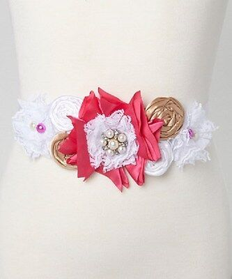 Girls Sash- Pink & White Couture Ribbon with lace and Beads New