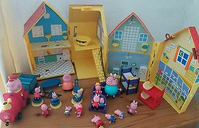 Peppa  Pig large bundle houses etc with lots furniture & figures & Train !