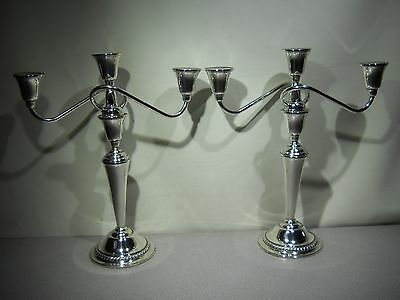 Pair of INTERNATIONAL - Sterling Silver - Candelabras with Gadroon Border