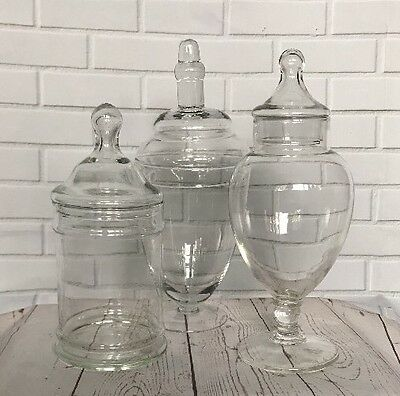 Vintage Apothecary Glass Jars Lids Set Wedding Candy Buffet