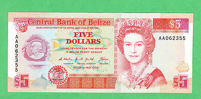 Belize 5 Dollar Note P-53a  UNCIRCULATED