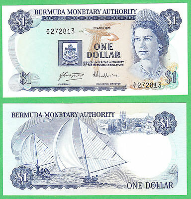 Bermuda 1 Dollar Note P-28b  1. April. 1978 (A/4 prefix)  UNCIRCULATED