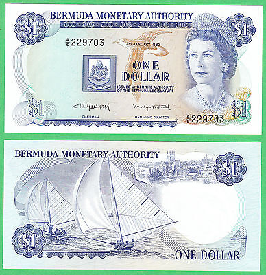 Bermuda 1 Dollar Note P-28b  2. Jan. 1982  UNCIRCULATED