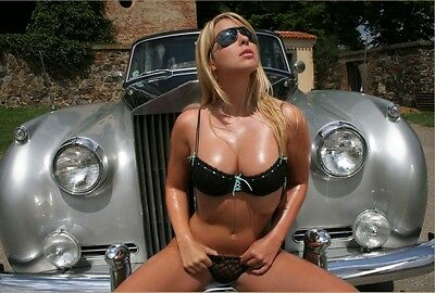 5 x Hot blond with Rolls Royce A4 photos