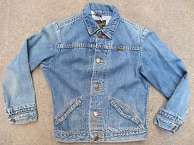 Vintage 70s Kids Toddler Wrangler selvedge Denim Trucker Jacket USA Made