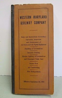 Western Maryland Railway Rules & Instructions of Operating Equipment Booklet