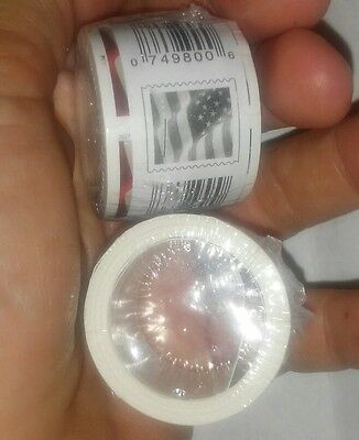 2 rolls coils of 100 each US flag forever stamps. 200 stamps