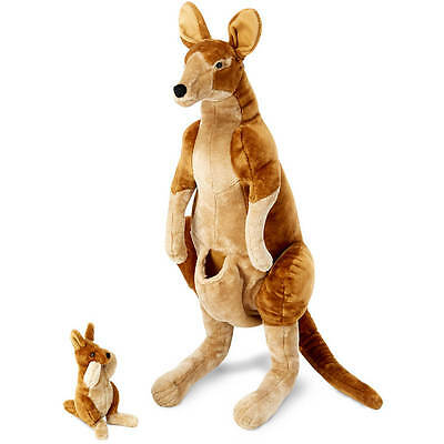 Melissa & Doug Giant Kangaroo and Baby Joey in Pouch - Lifelike Stuffed Animal