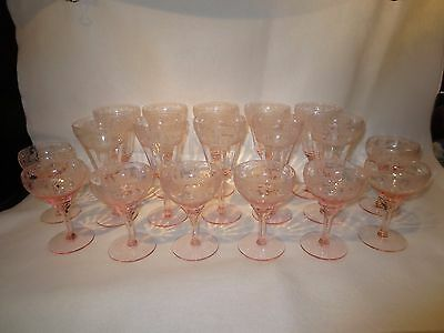 Set Of 18 Tiffin Deerwood Stems (10 Water & 8 Saucer Champagne) Pink