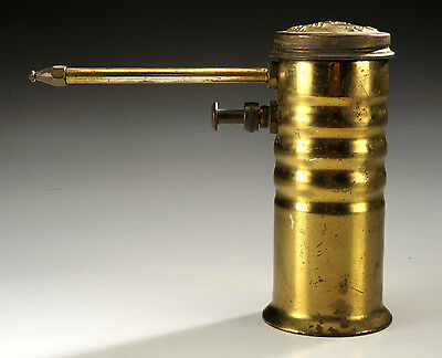 """Eagle No 66 Oil Can 5"""" tall Rare Brass Cylinder Oiler USA Advertising"""