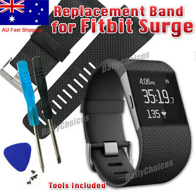 Silicone Replacement Band Strap Wristband + Tools Buckle for Fitbit Surge Tracke