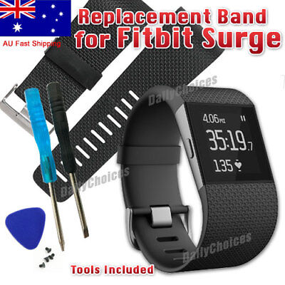 Replacement TPU Band Strap Wristband & Tools Buckle for Fitbit Surge Tracker AU