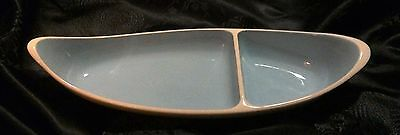 Turquoise Mid Century Modern Taylor Smith and Taylor Ceramic Divided Relish Dish