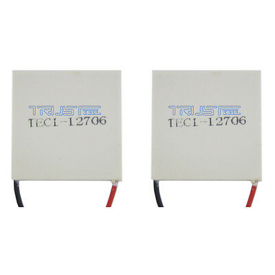 2x TEC1-12706 Heatsink Thermoelectric Cooler Cooling Peltier Plate Module12V60W