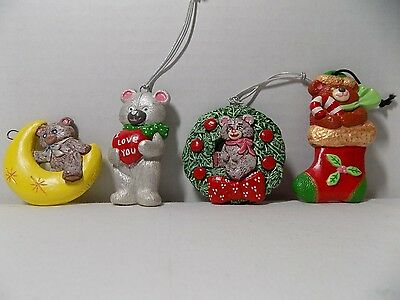 Lot 4 Hand Painted Ceramic Bisque Teddy Bear Christmas Ornaments Holiday Decor