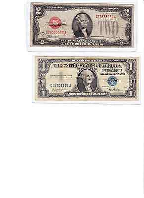 1928 or 1953 or 1963 $2 red seal & 1935 or 1957 $1 Silver Cert, lot of 2