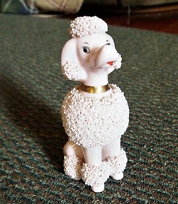 "Vintage 50s/60s SPAGHETTI POODLE w/Popcorn-like Spaghetti  5"" high Pink ."