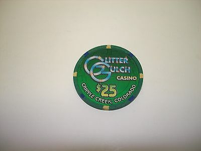 Glitter Gulch Casino  Cripple Creek    Colorado  $25 Casino Chip  OBSOLETE!!
