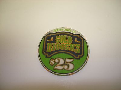 Gold Diggers Cripple Creek   Colorado  $25 Casino Chip  Uncirculated Condition