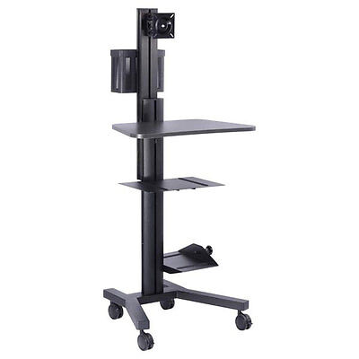PC Mobile Cart Rolling Computer Workstation Stand Black 27753