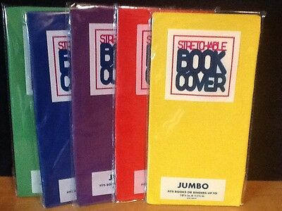 5 JUMBO Stretchable Fabric Book Covers Solid Colors - New