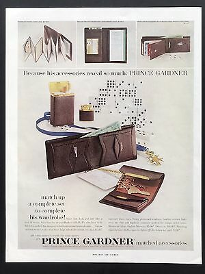 1957 Vintage Print Ad 1950s PRINCE GARDNER Wallet Key Holder Leather