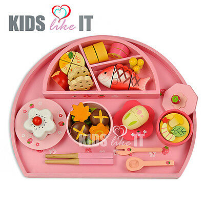 NEW Kids GIRLS Wooden Pink Japanese SUSHI Pretend PLAY SET Kitchen FOOD TOY