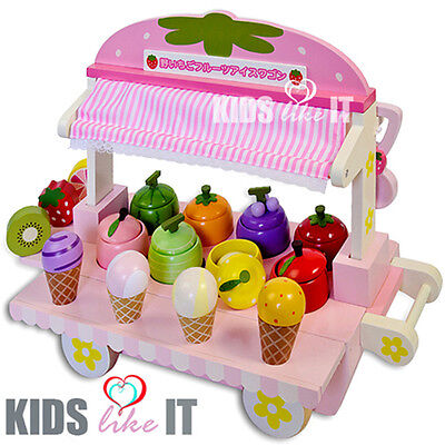 NEW Pink Kids GIRLS Wooden Summer ICECREAM Stall Toy Pretend PLAY SET  Xmas GIFT