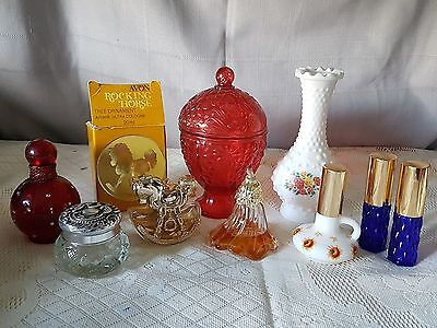 BEAUTIFUL VINTAGE COLLECTION OF (MOSTLY) AVON STAMPED PERFUME BOTTLES  x9.