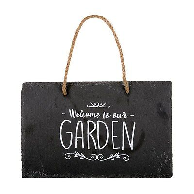 Welcome To Our Garden Shabby Chic Slate Plaque Wall Hanging Sign Rustic Decor