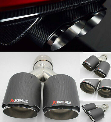 "New Akrapovic Carbon Fiber Exhaust Tip Stainless Steel Dual Pipe ID:2.5"" OD:3.5"""