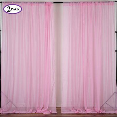 Pink 10 x 10 ft Voile BACKDROP CURTAINS Drapes Panels Home Party Decorations