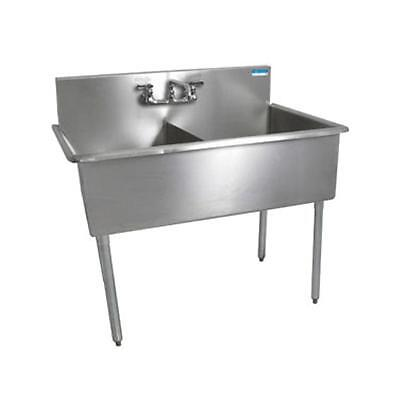 "BK Resources BK8BS-2-18-12 2 Compartment Budget Sink 18"" x 18"" Stainless Steel"