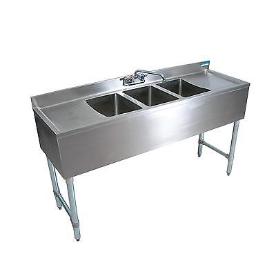 "BK Resources BKUBW-484TS 84""Wx18-1/4""D Stainless Steel Slimline Underbar Sink"