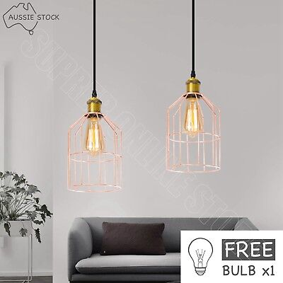 Cage Pendant Lighting Rose Gold Metal Wire Industrial Ceiling Lamp Light W/ Bulb