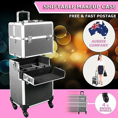 5 in 1 Portable Cosmetics Beauty Makeup Case Carry Bag Organiser Trolley Black