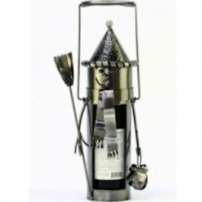 Wintry Fun Snowman Decorative Polished Metal Wine Bottle Holder Caddy. Brand New