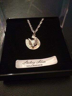 Fox horseshoe necklace solid sterling silver hallmarked  jewellery gift