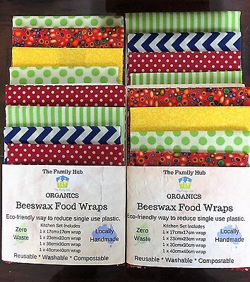 Beeswax Food Wrap 4pce Sets - Eco Friendly Way to Reduce Single Use Plastic Wrap