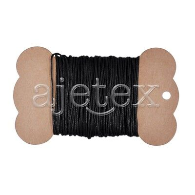 10M 0.8mm Waxed Cotton Cord Jewellery Thong Thread String Beading Craft Black
