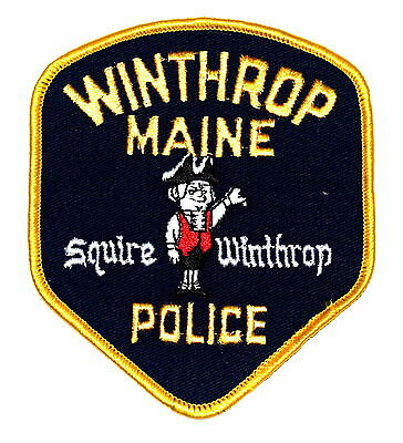 WINTHROP MAINE ME Police Sheriff Patch SQUIRE WINTHROP PILGRIM ~