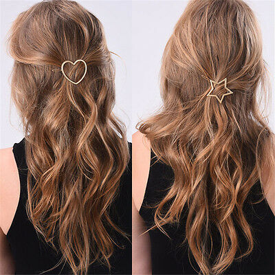 Women Girls  Gold Silver Heart Star Hairpin Barrette Hair Clip Hair Accessories