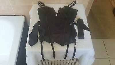 Ann Summers Pure Lace Black Suspender Corset Basque Size 14  New With Tags