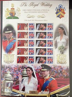 Royal Wedding Business Smiler Stamp Sheet History of BritainWilliam and Kate MNH