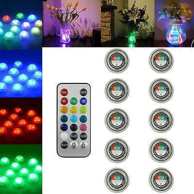 10PCS Wireless Remote Control SMD3528 RGB LED Lights Submersible CR2032 Battery