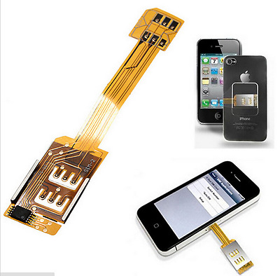 2 In 1 Dual SIM Card Adapter Converter Standby Flex Cable For Samsung Android