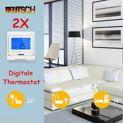 2xthermostat raumthermostat bodenf hler fu bodenheizung manueller wandheizung eu eur 17 99. Black Bedroom Furniture Sets. Home Design Ideas