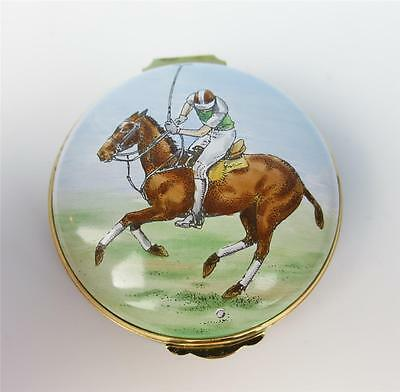 Vintage Large Crummles Enamel Polo Trinket Box Horse Equestrian Pony English